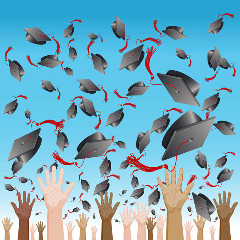 Transition to adult life for kids with autism after graduation. An image of a diversity graduation day cap tossing ceremony.
