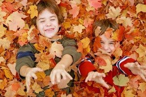 Boys Playing Throwing the Fall Leaves Up in the Air
