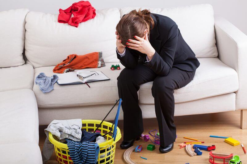 Woman who work and care of house is exhausted and stressed of her workload: Parental fatigue ASD